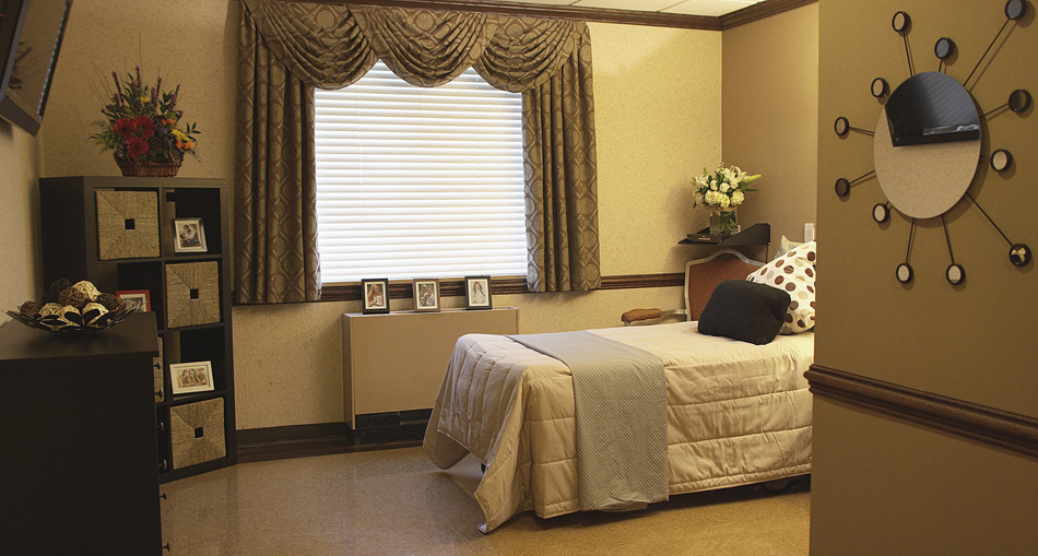 Bedroom at rehabilitation and nursing center on Long Island