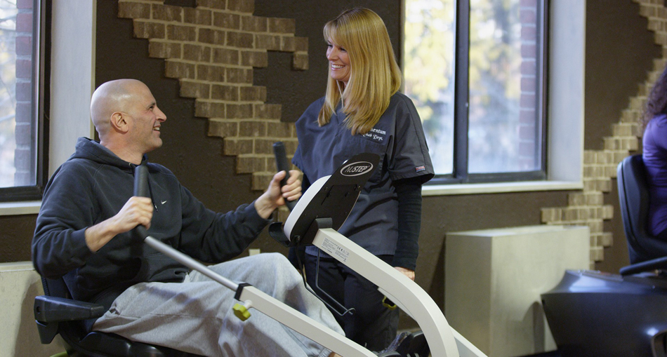Patient recovering with rehabilitation therapy
